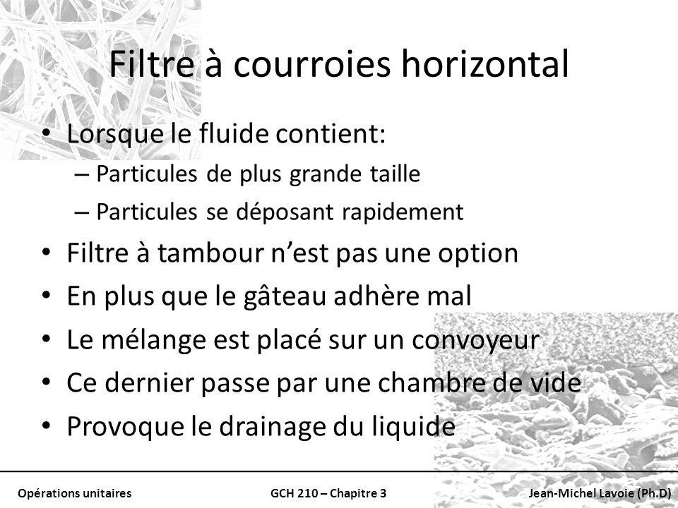Opérations unitairesGCH 210 – Chapitre 3Jean-Michel Lavoie (Ph.D) Filtre à courroies horizontal Lorsque le fluide contient: – Particules de plus grand