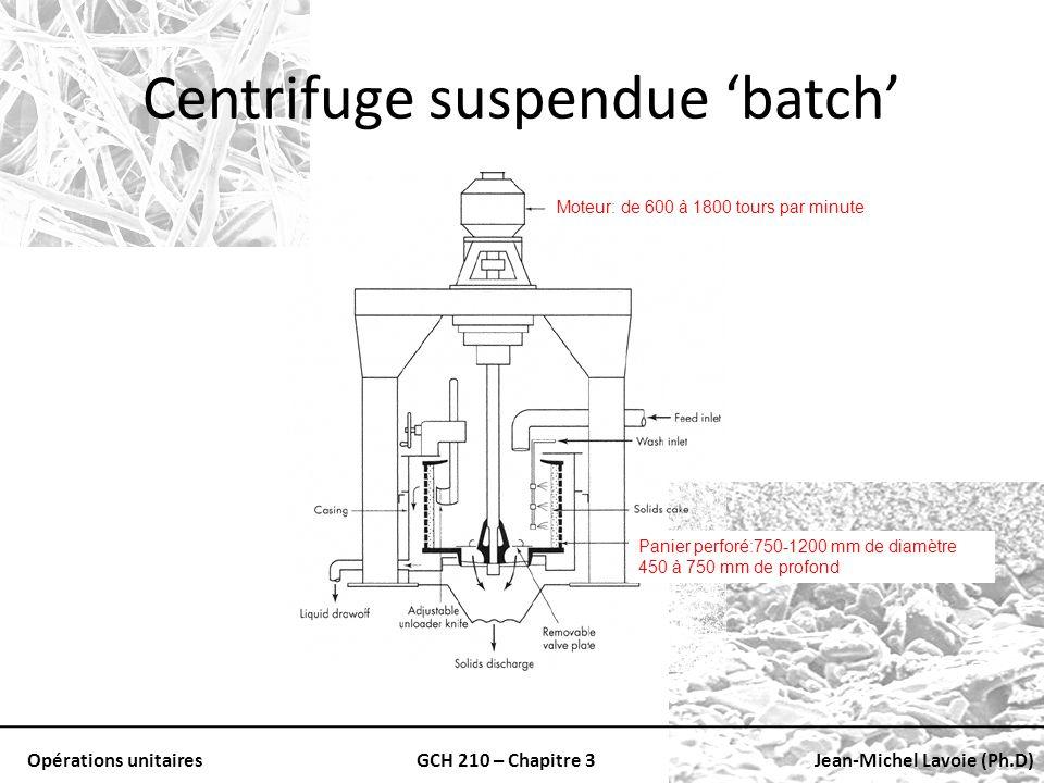 Opérations unitairesGCH 210 – Chapitre 3Jean-Michel Lavoie (Ph.D) Centrifuge suspendue batch Panier perforé:750-1200 mm de diamètre 450 à 750 mm de pr