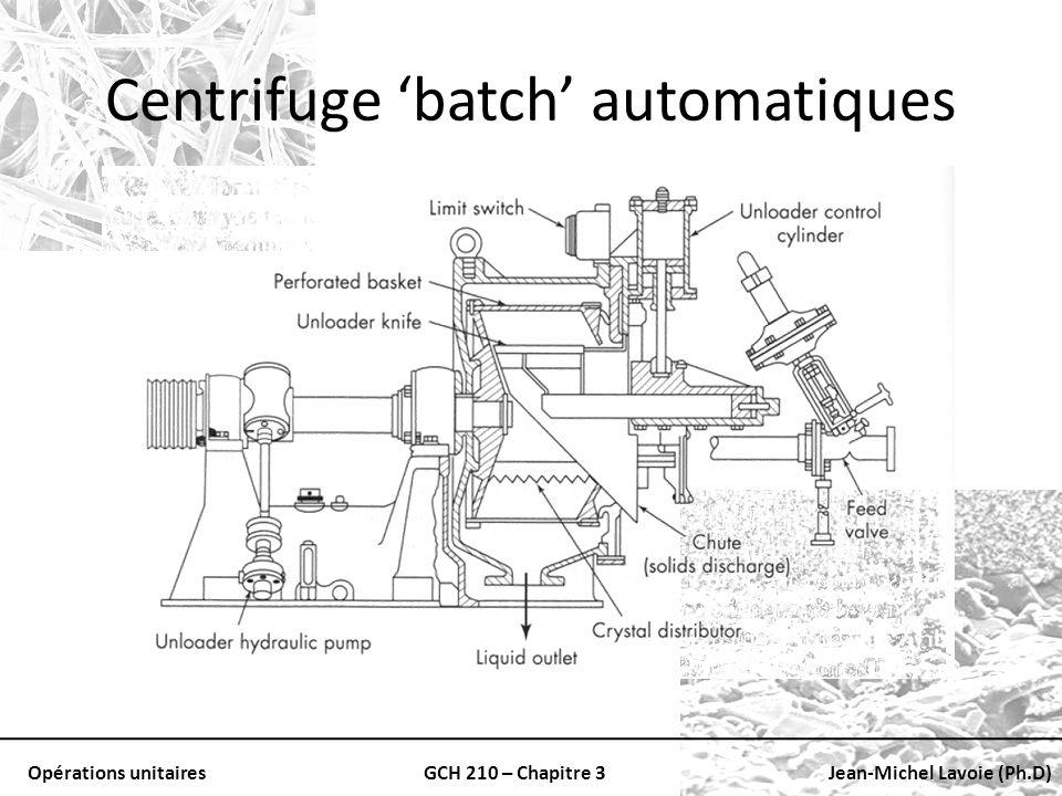 Opérations unitairesGCH 210 – Chapitre 3Jean-Michel Lavoie (Ph.D) Centrifuge batch automatiques