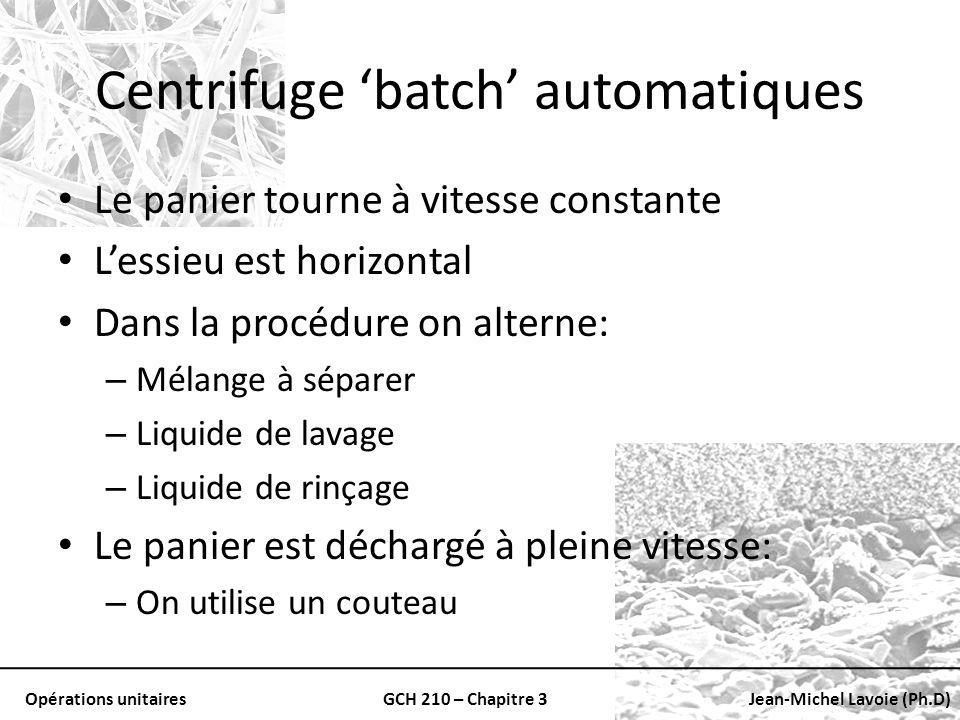 Opérations unitairesGCH 210 – Chapitre 3Jean-Michel Lavoie (Ph.D) Le panier tourne à vitesse constante Lessieu est horizontal Dans la procédure on alt