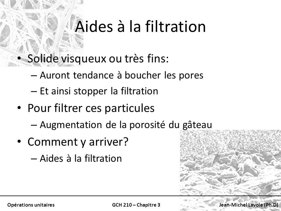 Opérations unitairesGCH 210 – Chapitre 3Jean-Michel Lavoie (Ph.D) Aides à la filtration Solide visqueux ou très fins: – Auront tendance à boucher les