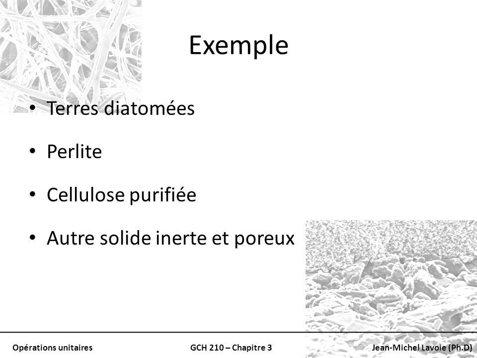Opérations unitairesGCH 210 – Chapitre 3Jean-Michel Lavoie (Ph.D) Exemple Terres diatomées Perlite Cellulose purifiée Autre solide inerte et poreux