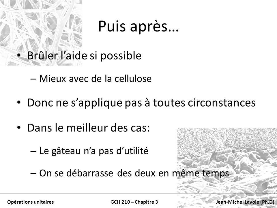 Opérations unitairesGCH 210 – Chapitre 3Jean-Michel Lavoie (Ph.D) Puis après… Brûler laide si possible – Mieux avec de la cellulose Donc ne sapplique