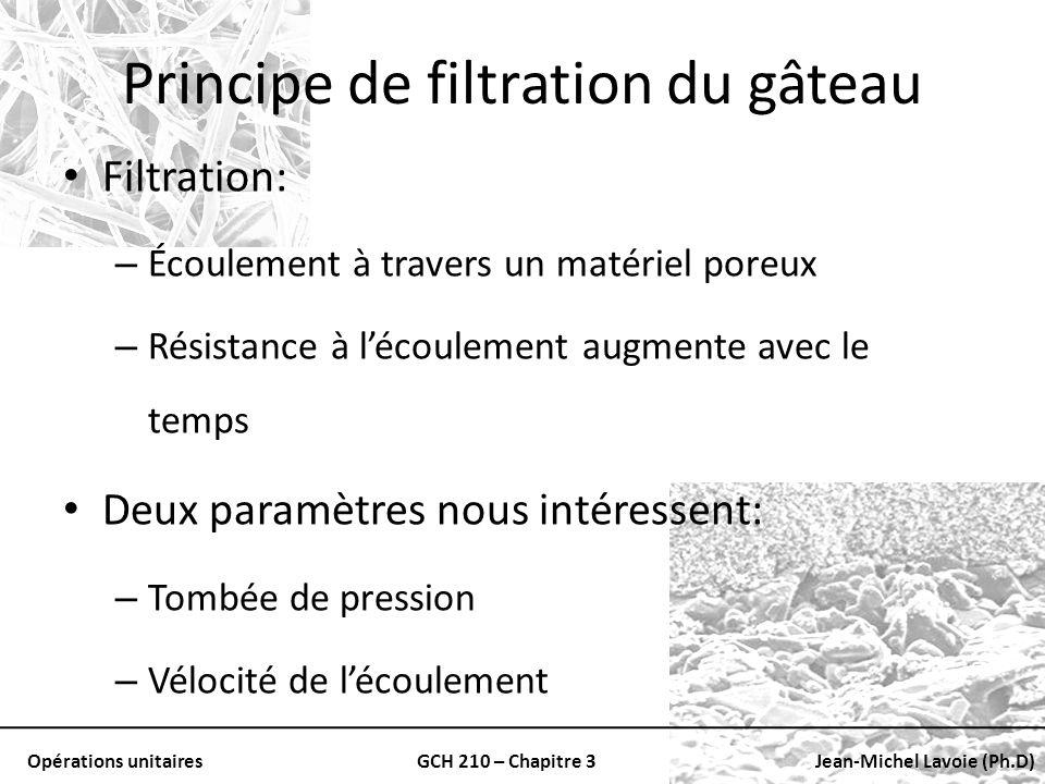 Opérations unitairesGCH 210 – Chapitre 3Jean-Michel Lavoie (Ph.D) Principe de filtration du gâteau Filtration: – Écoulement à travers un matériel pore