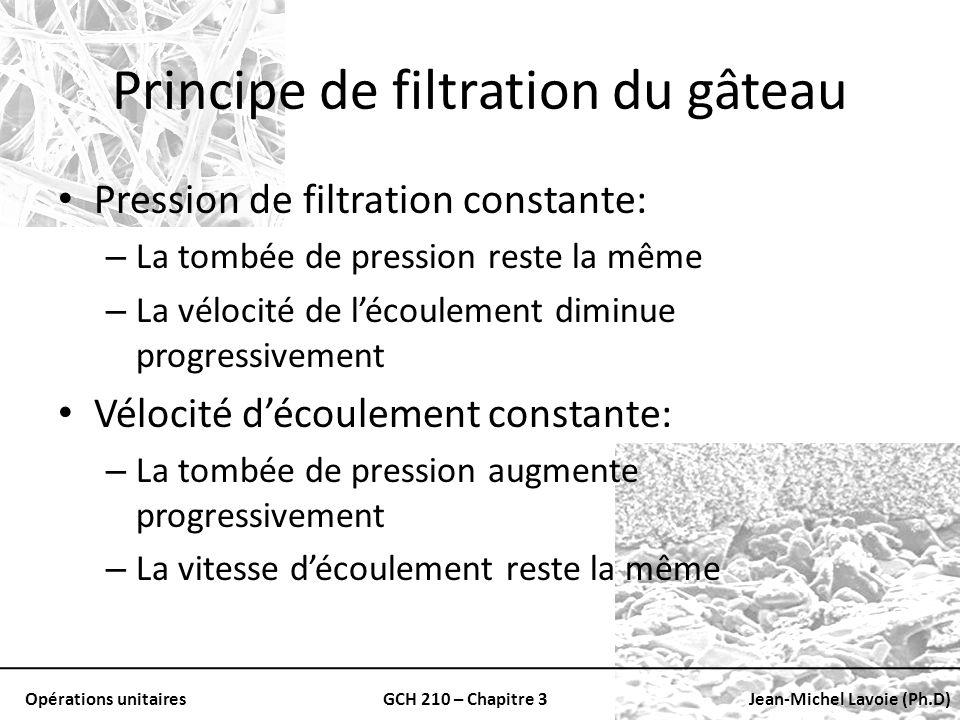 Opérations unitairesGCH 210 – Chapitre 3Jean-Michel Lavoie (Ph.D) Principe de filtration du gâteau Pression de filtration constante: – La tombée de pr