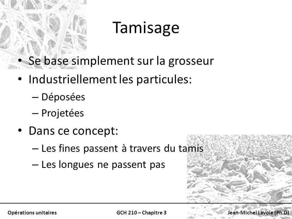 Opérations unitairesGCH 210 – Chapitre 3Jean-Michel Lavoie (Ph.D) Tamisage Se base simplement sur la grosseur Industriellement les particules: – Dépos