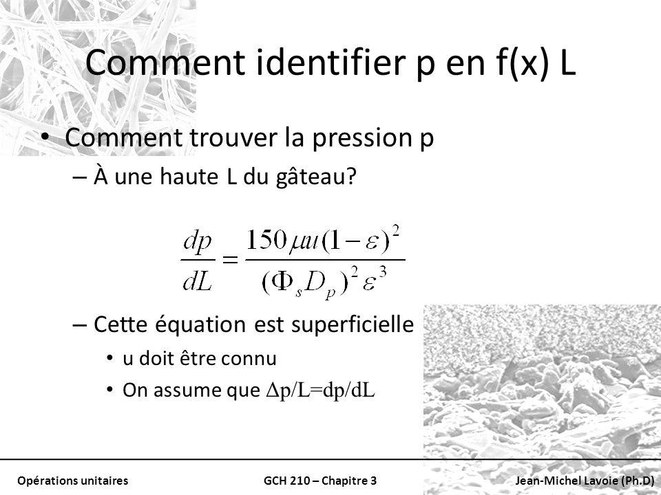 Opérations unitairesGCH 210 – Chapitre 3Jean-Michel Lavoie (Ph.D) Comment identifier p en f(x) L Comment trouver la pression p – À une haute L du gâte