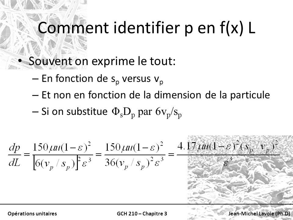 Opérations unitairesGCH 210 – Chapitre 3Jean-Michel Lavoie (Ph.D) Comment identifier p en f(x) L Souvent on exprime le tout: – En fonction de s p vers