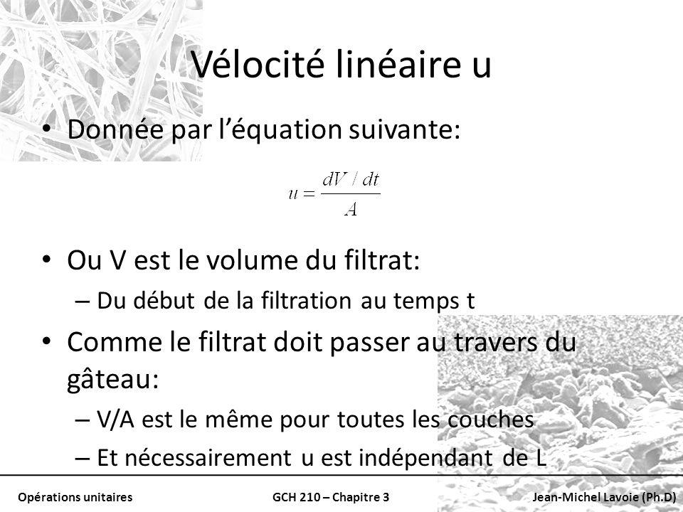 Opérations unitairesGCH 210 – Chapitre 3Jean-Michel Lavoie (Ph.D) Vélocité linéaire u Donnée par léquation suivante: Ou V est le volume du filtrat: –
