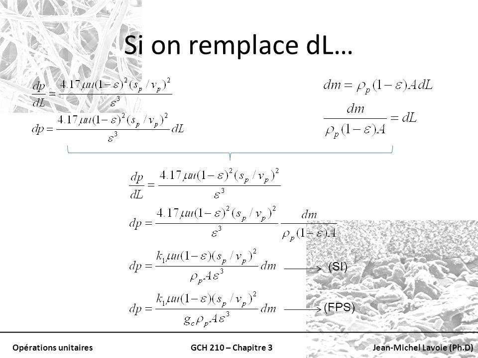 Opérations unitairesGCH 210 – Chapitre 3Jean-Michel Lavoie (Ph.D) Si on remplace dL… (SI) (FPS)