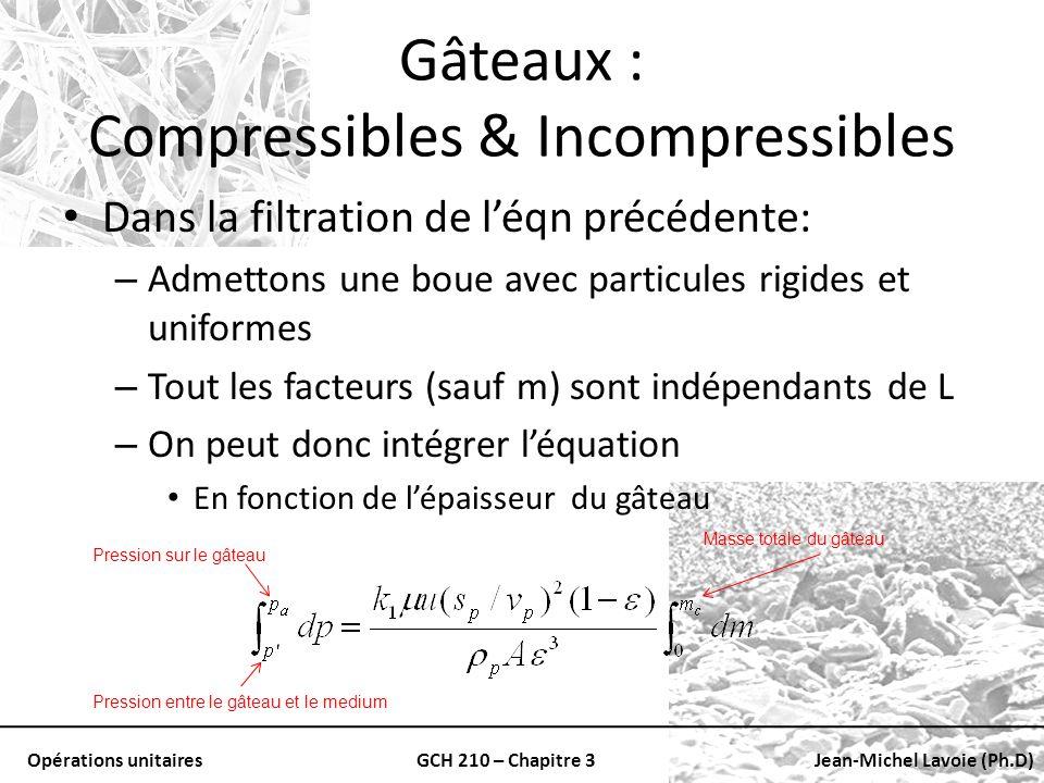 Opérations unitairesGCH 210 – Chapitre 3Jean-Michel Lavoie (Ph.D) Gâteaux : Compressibles & Incompressibles Dans la filtration de léqn précédente: – A