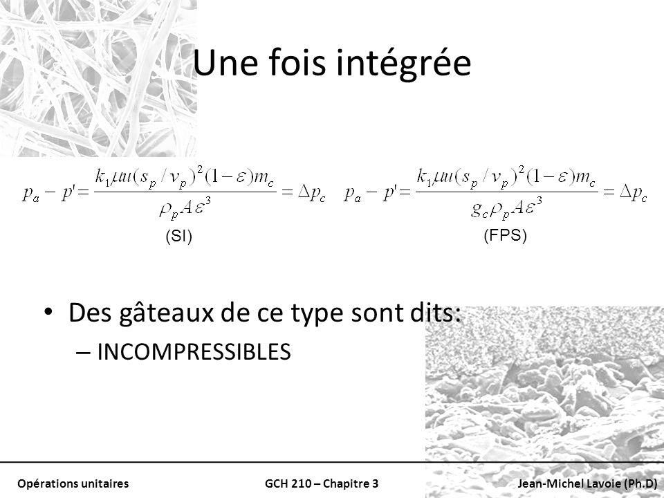 Opérations unitairesGCH 210 – Chapitre 3Jean-Michel Lavoie (Ph.D) Une fois intégrée Des gâteaux de ce type sont dits: – INCOMPRESSIBLES (SI) (FPS)