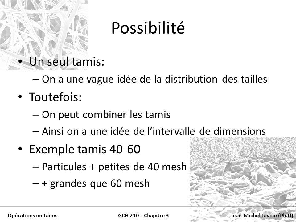 Opérations unitairesGCH 210 – Chapitre 3Jean-Michel Lavoie (Ph.D) Possibilité Un seul tamis: – On a une vague idée de la distribution des tailles Tout