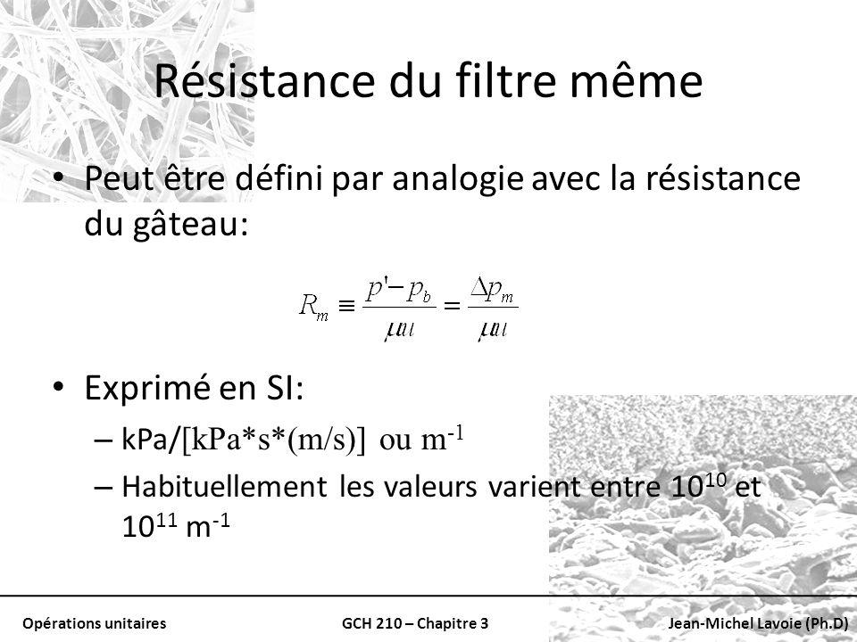 Opérations unitairesGCH 210 – Chapitre 3Jean-Michel Lavoie (Ph.D) Résistance du filtre même Peut être défini par analogie avec la résistance du gâteau