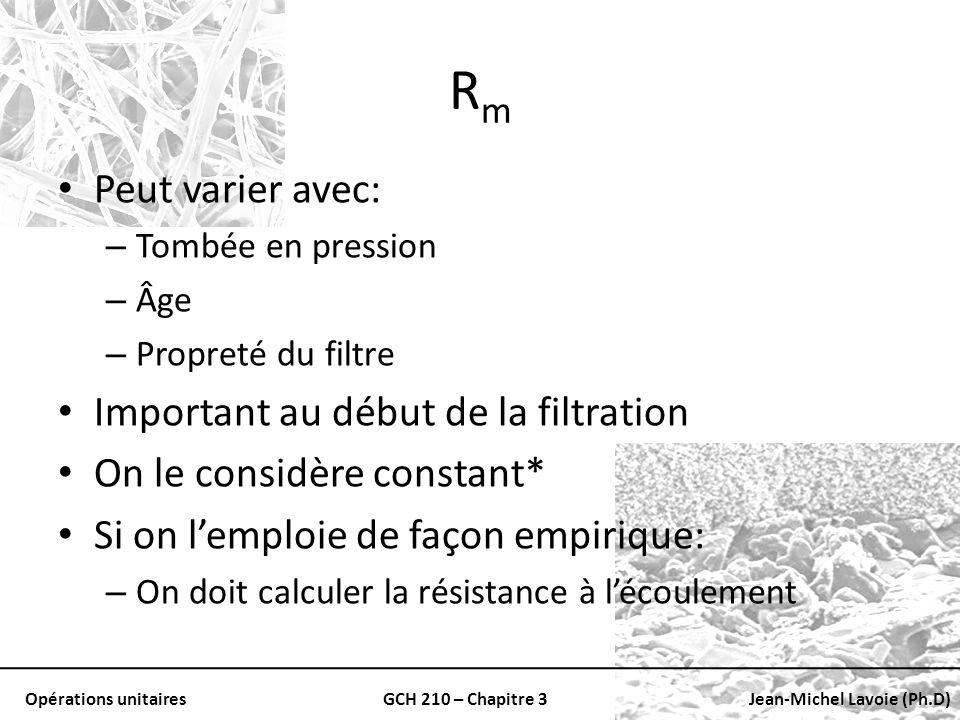Opérations unitairesGCH 210 – Chapitre 3Jean-Michel Lavoie (Ph.D) RmRm Peut varier avec: – Tombée en pression – Âge – Propreté du filtre Important au