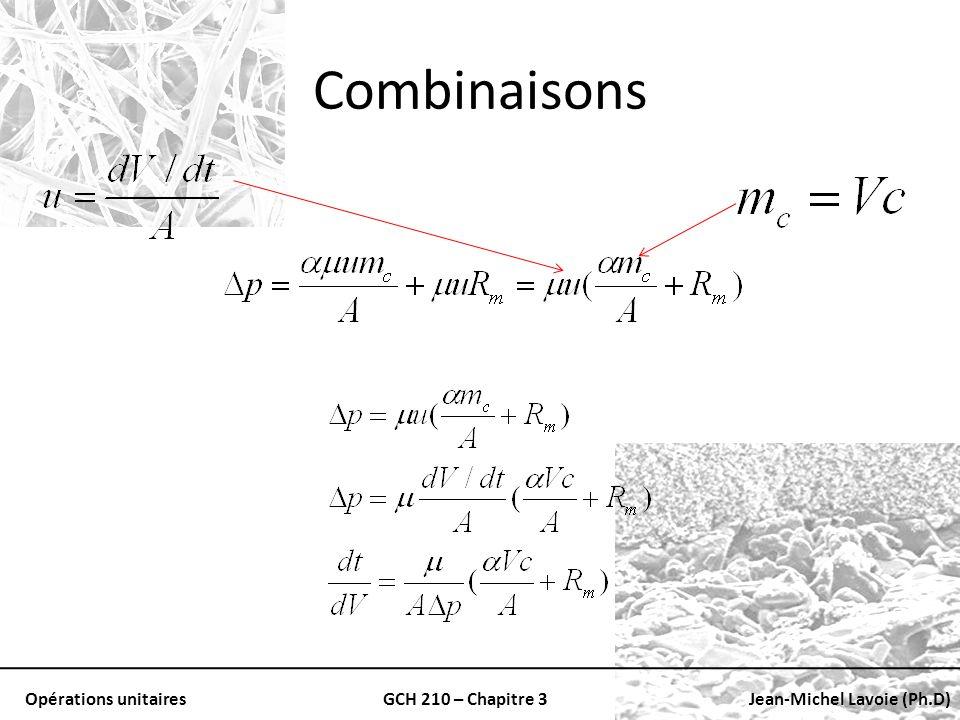 Opérations unitairesGCH 210 – Chapitre 3Jean-Michel Lavoie (Ph.D) Combinaisons