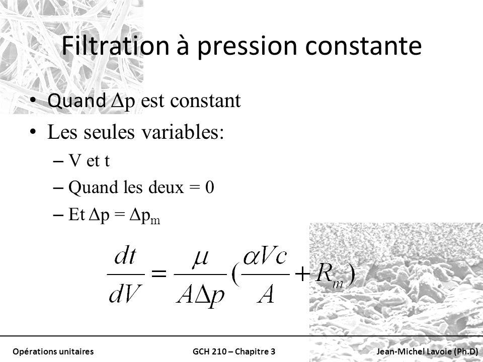 Opérations unitairesGCH 210 – Chapitre 3Jean-Michel Lavoie (Ph.D) Filtration à pression constante Quand Δp est constant Les seules variables: – V et t
