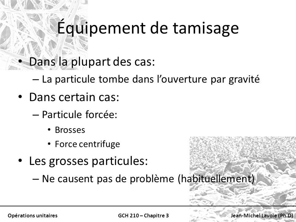 Opérations unitairesGCH 210 – Chapitre 3Jean-Michel Lavoie (Ph.D) Équipement de tamisage Dans la plupart des cas: – La particule tombe dans louverture