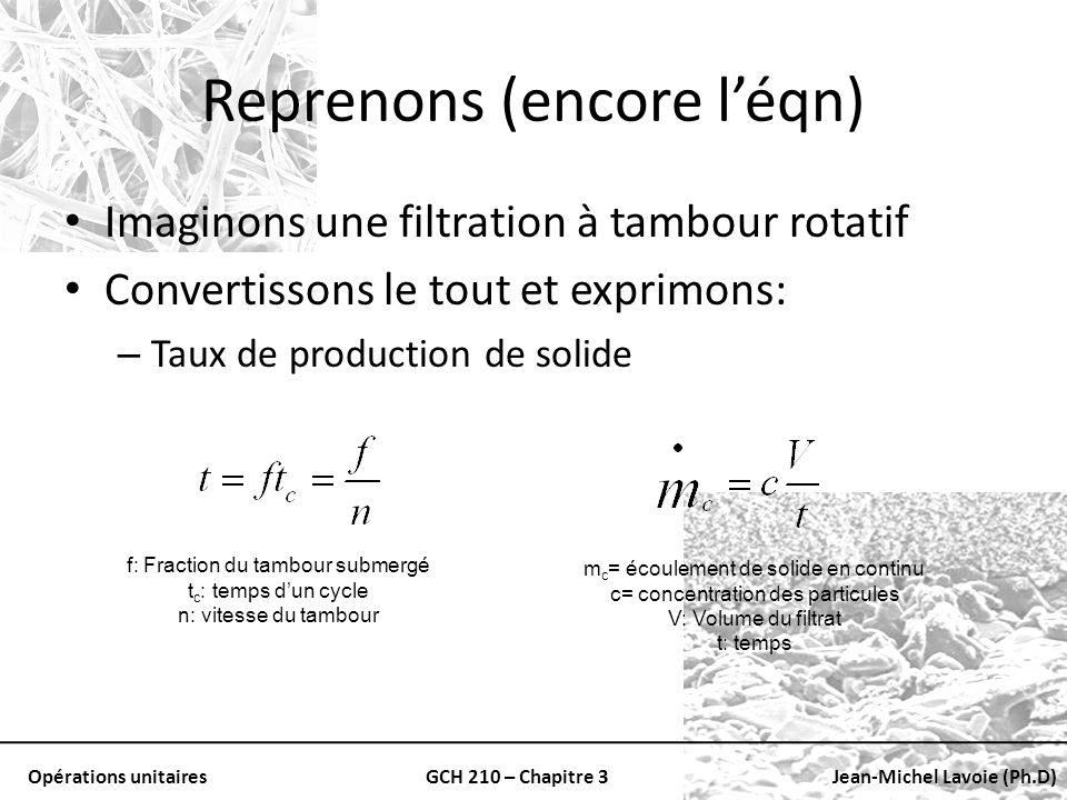 Opérations unitairesGCH 210 – Chapitre 3Jean-Michel Lavoie (Ph.D) Reprenons (encore léqn) Imaginons une filtration à tambour rotatif Convertissons le