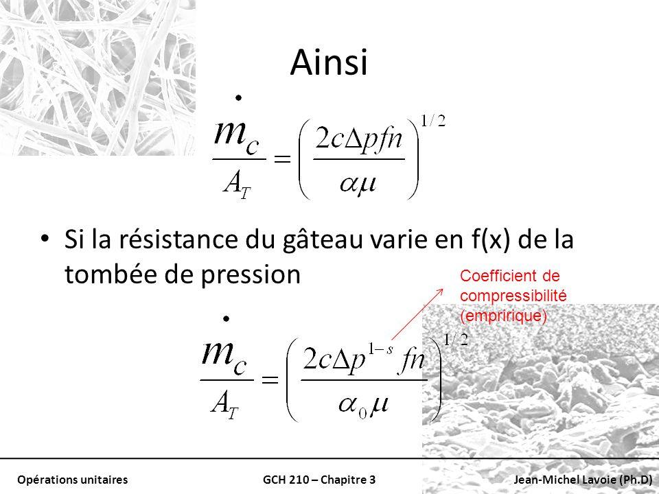 Opérations unitairesGCH 210 – Chapitre 3Jean-Michel Lavoie (Ph.D) Ainsi Si la résistance du gâteau varie en f(x) de la tombée de pression Coefficient