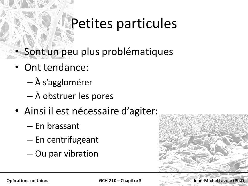 Opérations unitairesGCH 210 – Chapitre 3Jean-Michel Lavoie (Ph.D) Petites particules Sont un peu plus problématiques Ont tendance: – À sagglomérer – À