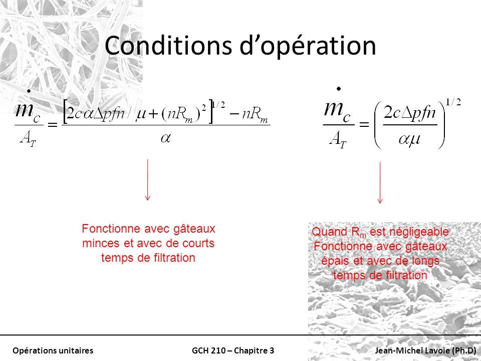 Opérations unitairesGCH 210 – Chapitre 3Jean-Michel Lavoie (Ph.D) Conditions dopération Quand R m est négligeable Fonctionne avec gâteaux épais et ave