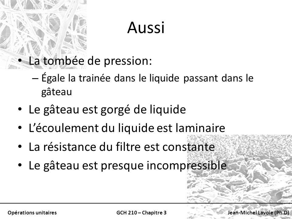 Opérations unitairesGCH 210 – Chapitre 3Jean-Michel Lavoie (Ph.D) Aussi La tombée de pression: – Égale la trainée dans le liquide passant dans le gâte
