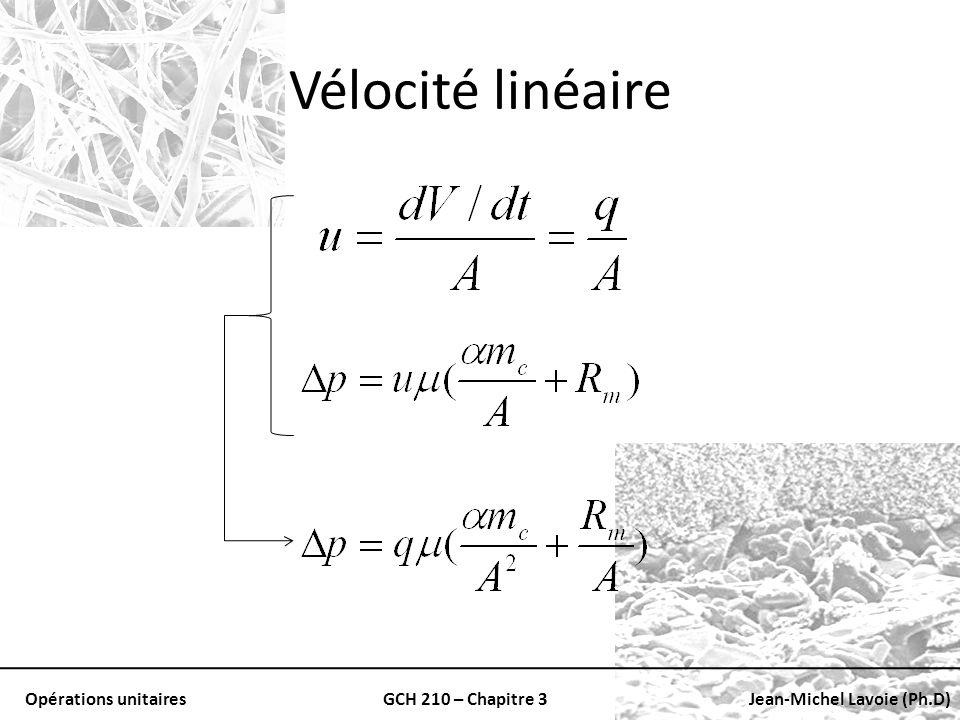 Opérations unitairesGCH 210 – Chapitre 3Jean-Michel Lavoie (Ph.D) Vélocité linéaire