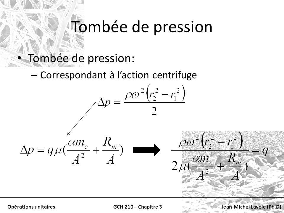 Opérations unitairesGCH 210 – Chapitre 3Jean-Michel Lavoie (Ph.D) Tombée de pression Tombée de pression: – Correspondant à laction centrifuge