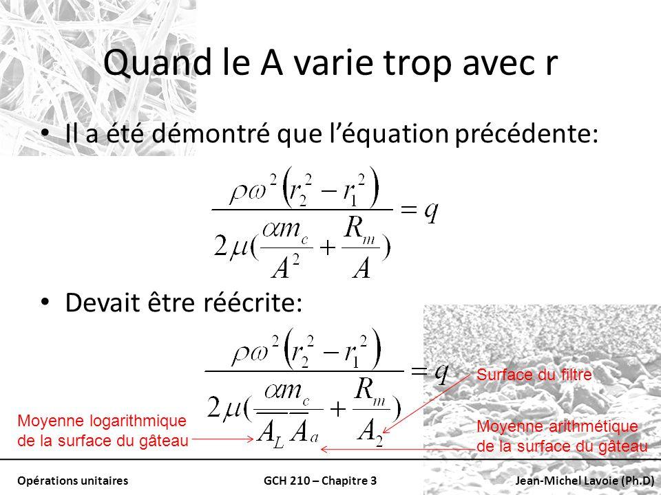 Opérations unitairesGCH 210 – Chapitre 3Jean-Michel Lavoie (Ph.D) Quand le A varie trop avec r Il a été démontré que léquation précédente: Devait être