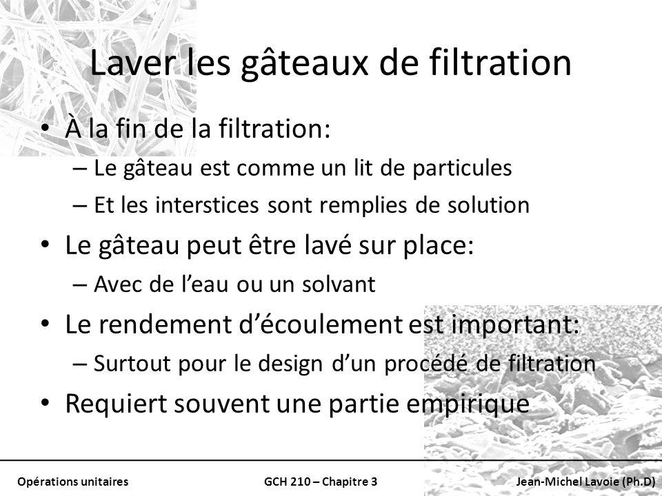 Opérations unitairesGCH 210 – Chapitre 3Jean-Michel Lavoie (Ph.D) Laver les gâteaux de filtration À la fin de la filtration: – Le gâteau est comme un