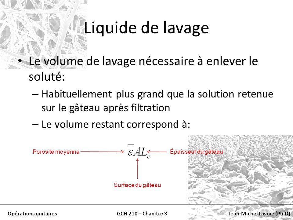 Opérations unitairesGCH 210 – Chapitre 3Jean-Michel Lavoie (Ph.D) Liquide de lavage Le volume de lavage nécessaire à enlever le soluté: – Habituelleme