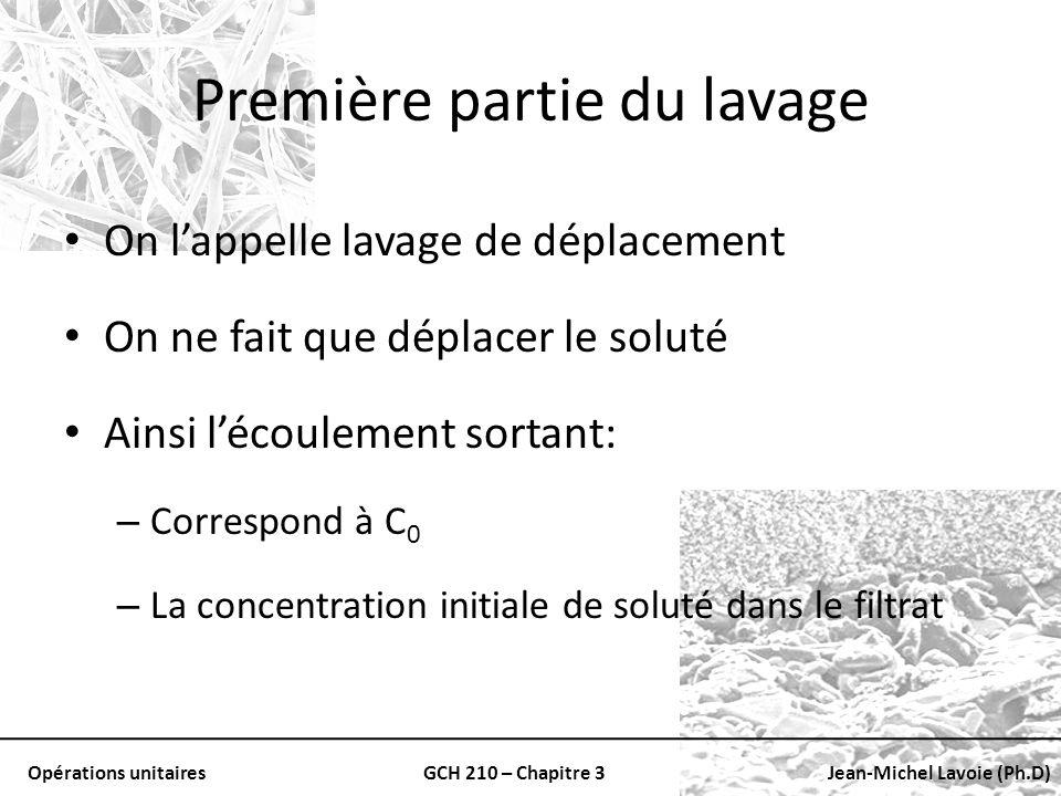 Opérations unitairesGCH 210 – Chapitre 3Jean-Michel Lavoie (Ph.D) Première partie du lavage On lappelle lavage de déplacement On ne fait que déplacer