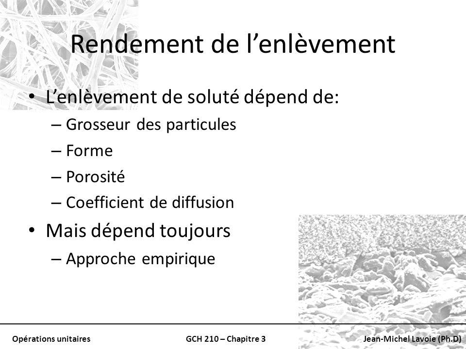 Opérations unitairesGCH 210 – Chapitre 3Jean-Michel Lavoie (Ph.D) Rendement de lenlèvement Lenlèvement de soluté dépend de: – Grosseur des particules