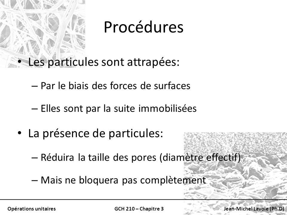 Opérations unitairesGCH 210 – Chapitre 3Jean-Michel Lavoie (Ph.D) Procédures Les particules sont attrapées: – Par le biais des forces de surfaces – El