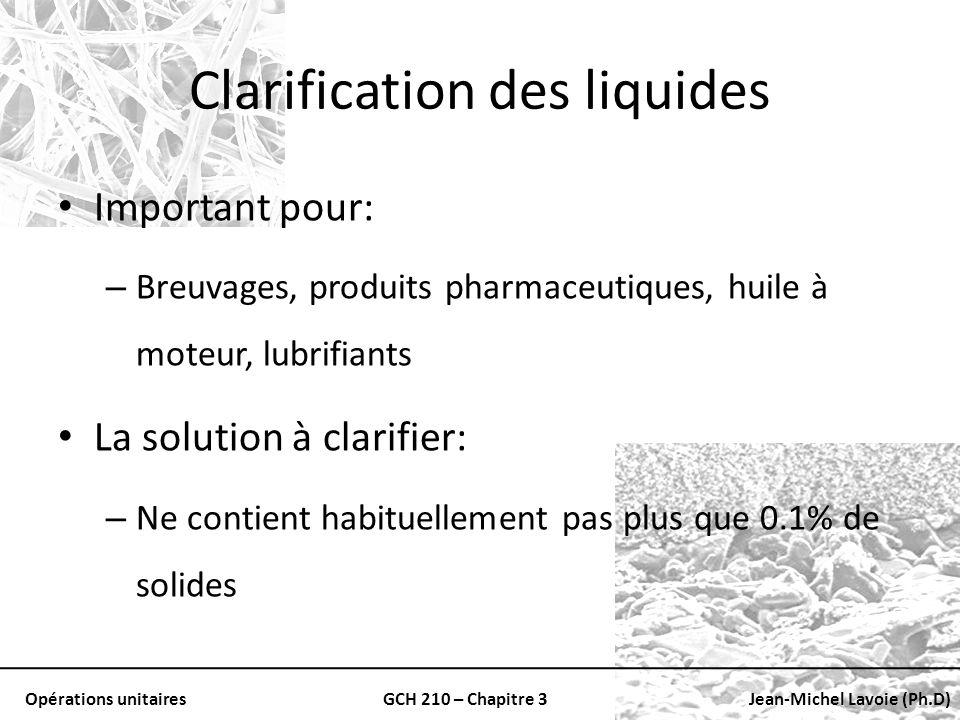Opérations unitairesGCH 210 – Chapitre 3Jean-Michel Lavoie (Ph.D) Clarification des liquides Important pour: – Breuvages, produits pharmaceutiques, hu