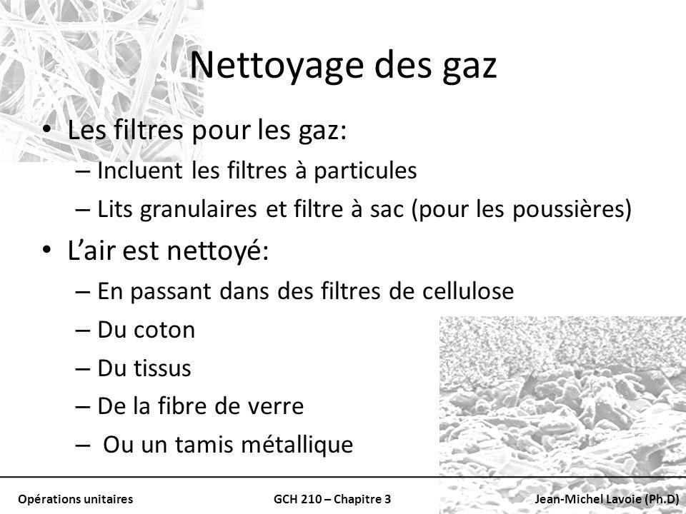 Opérations unitairesGCH 210 – Chapitre 3Jean-Michel Lavoie (Ph.D) Nettoyage des gaz Les filtres pour les gaz: – Incluent les filtres à particules – Li