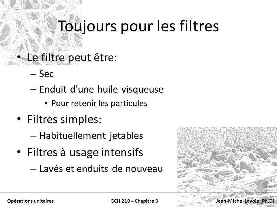 Opérations unitairesGCH 210 – Chapitre 3Jean-Michel Lavoie (Ph.D) Toujours pour les filtres Le filtre peut être: – Sec – Enduit dune huile visqueuse P
