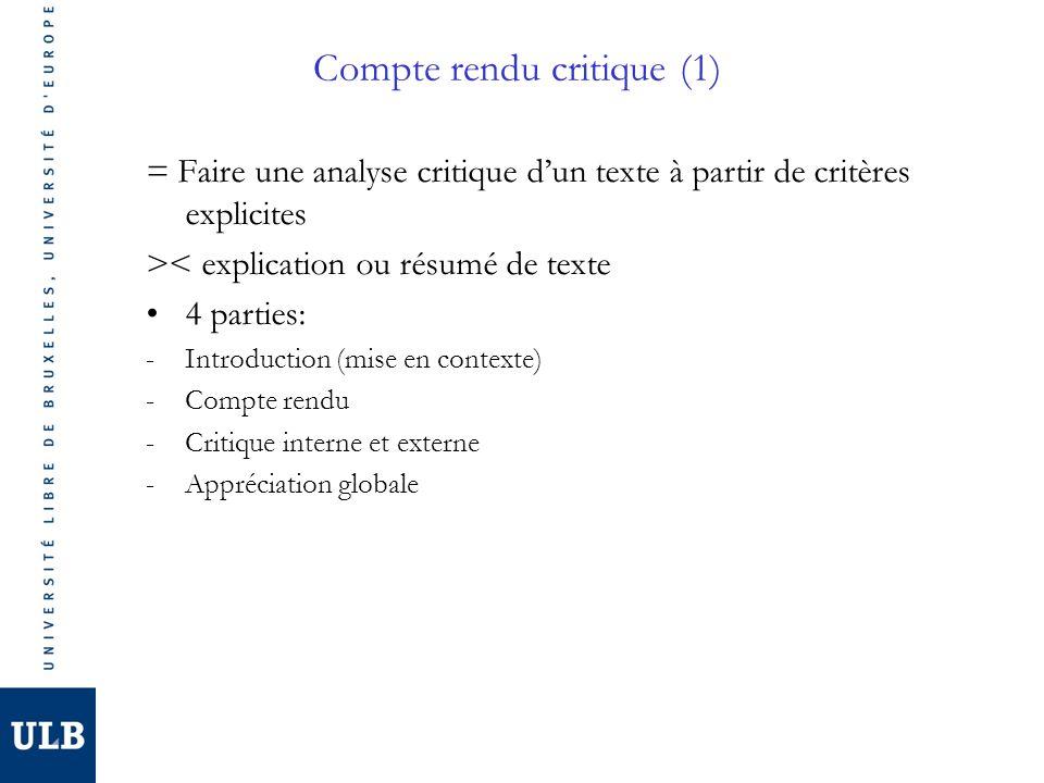 Compte rendu critique (1) = Faire une analyse critique dun texte à partir de critères explicites >< explication ou résumé de texte 4 parties: -Introduction (mise en contexte) -Compte rendu -Critique interne et externe -Appréciation globale