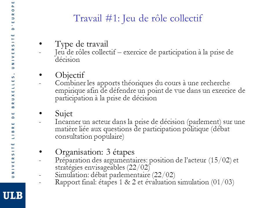 Travail #1: Jeu de rôle collectif Type de travail -Jeu de rôles collectif – exercice de participation à la prise de décision Objectif -Combiner les apports théoriques du cours à une recherche empirique afin de défendre un point de vue dans un exercice de participation à la prise de décision Sujet -Incarner un acteur dans la prise de décision (parlement) sur une matière liée aux questions de participation politique (débat consultation populaire) Organisation: 3 étapes -Préparation des argumentaires: position de lacteur (15/02) et stratégies envisageables (22/02) -Simulation: débat parlementaire (22/02) -Rapport final: étapes 1 & 2 et évaluation simulation (01/03)