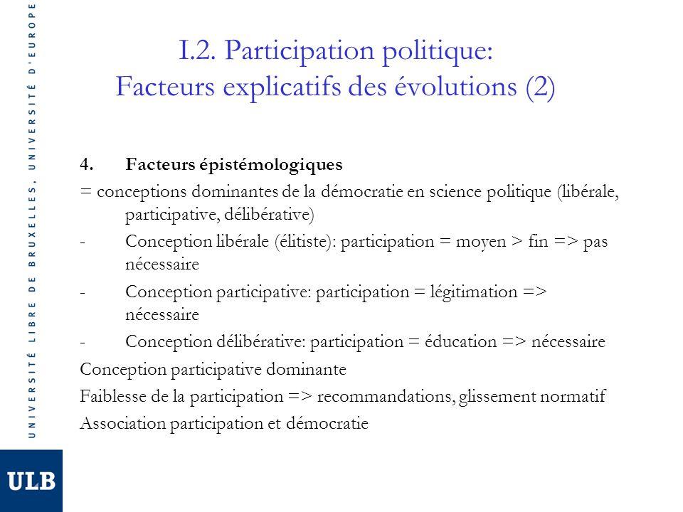 I.2. Participation politique: Facteurs explicatifs des évolutions (2) 4.Facteurs épistémologiques = conceptions dominantes de la démocratie en science