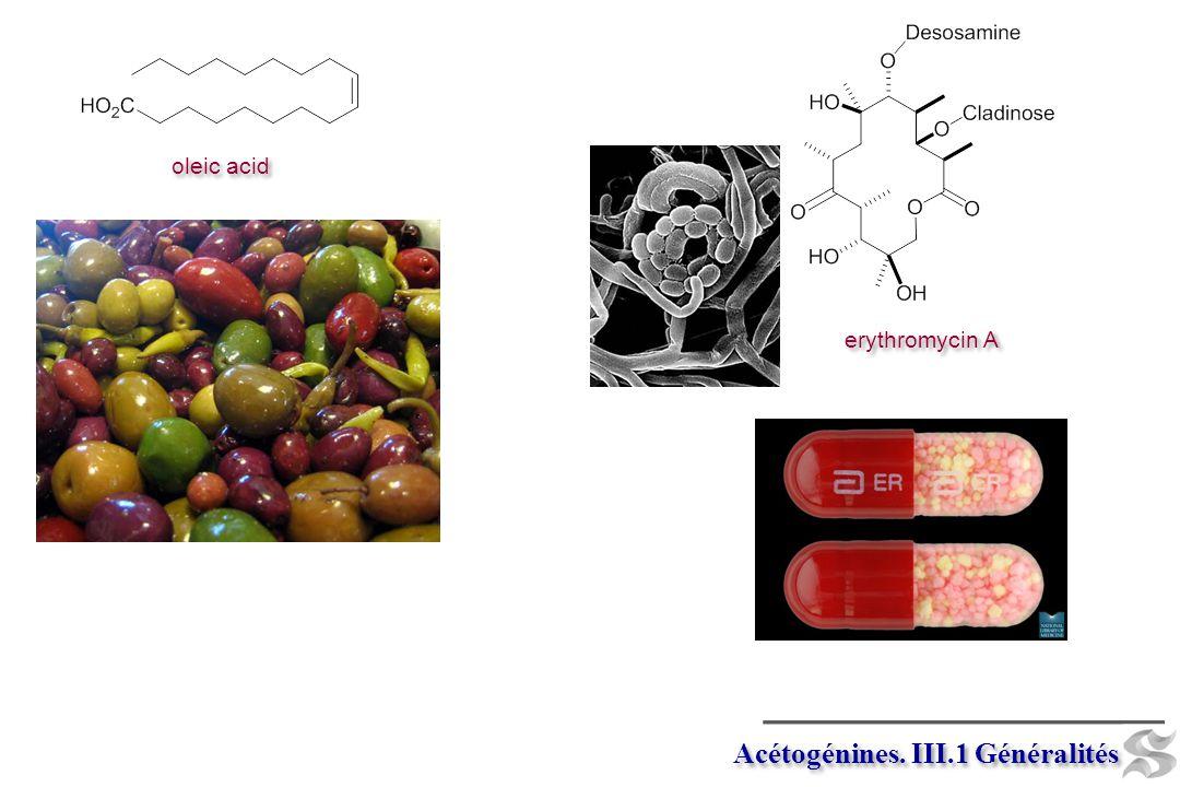 acétyl CoA acétoacétyl CoA polyacétates autres polycétides autres polycétides aromatiques Hétéroaromatiques aromatiques Hétéroaromatiques acide mévalonique isopentényl pyrophosphate terpènes leukotriènes prostaglandines acides gras insaturés acides gras saturés Acétogénines.