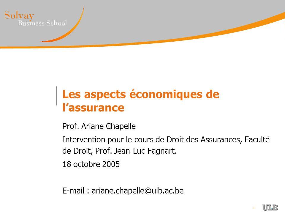 1 Les aspects économiques de lassurance Prof. Ariane Chapelle Intervention pour le cours de Droit des Assurances, Faculté de Droit, Prof. Jean-Luc Fag
