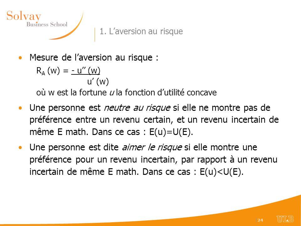   24 1. Laversion au risque Mesure de laversion au risque : R A (w) = - u (w) u (w) où w est la fortune u la fonction dutilité concave Une personne es