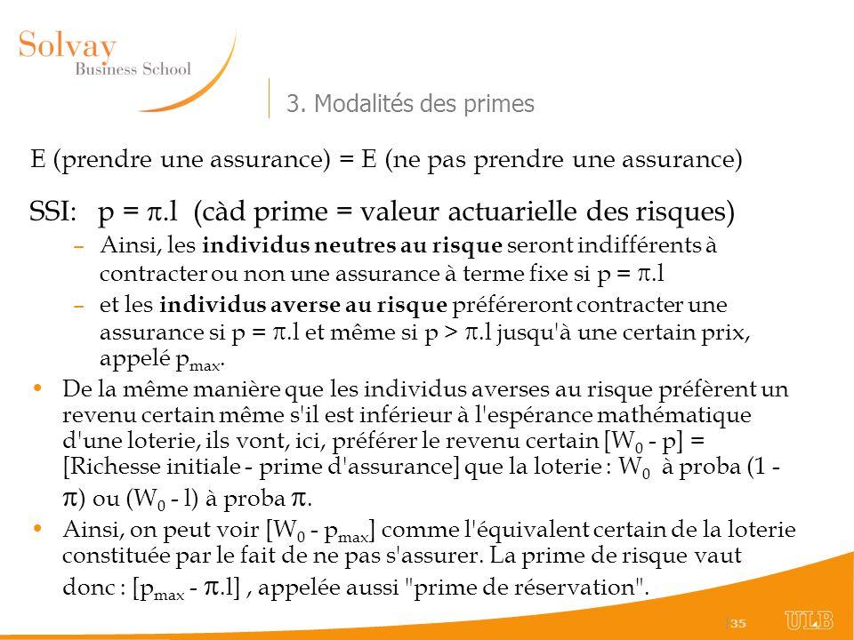   35 3. Modalités des primes E (prendre une assurance) = E (ne pas prendre une assurance) SSI: p =.l (càd prime = valeur actuarielle des risques) –Ain