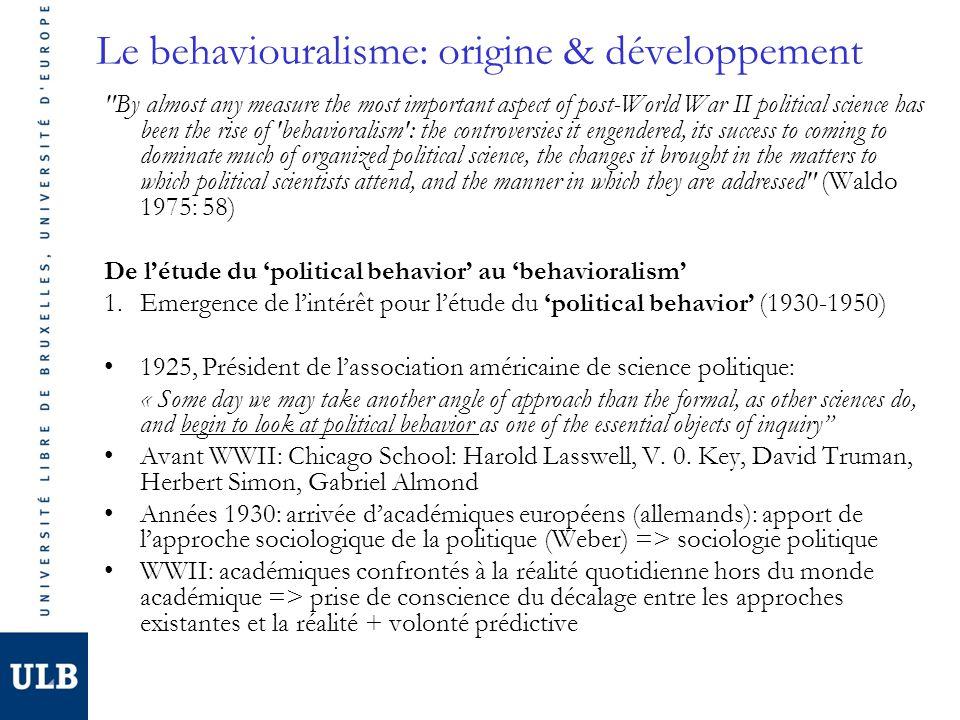 Le behaviouralisme: origine & développement Années 1950: Social Science Research Council (Pdt: E.