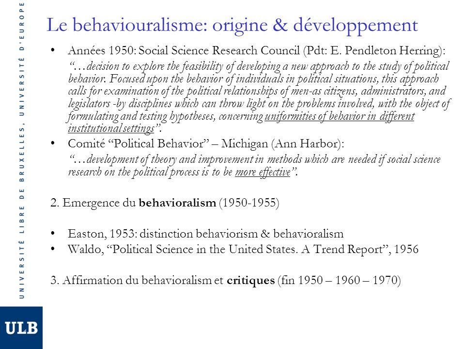 Le behaviouralisme: explication développement Evolutions techniques -Développement des techniques de collecte de données (enquêtes dopinion, électorales) >< données agrégées Evolutions sociales -USA: valorisation pragmatisme, factualisme, confiance science, individualisme -Rôle des associations, fondations etc.