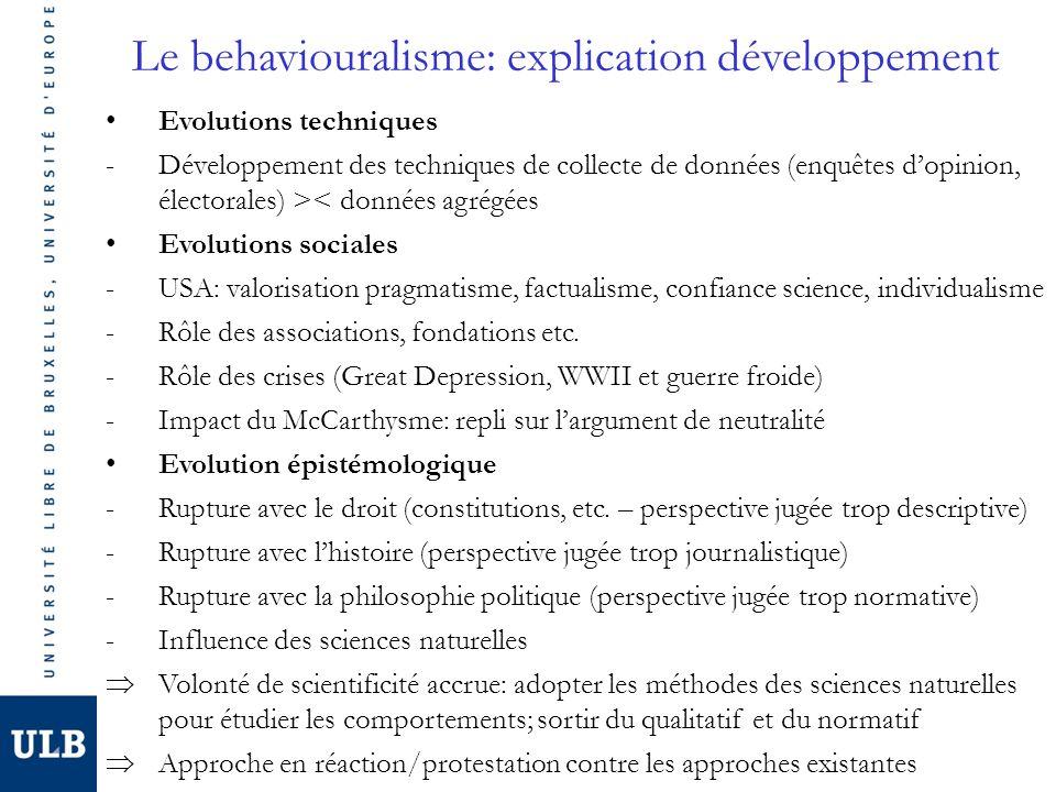 Le behaviouralisme: explication développement Evolutions techniques -Développement des techniques de collecte de données (enquêtes dopinion, électoral