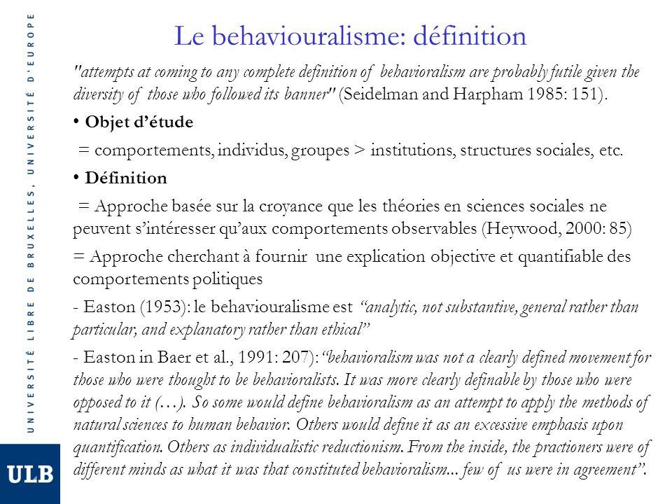 Le behaviouralisme: présupposés & caractéristiques (Easton 1962: 7-8) Observation: Le savoir se construit par lobservation Approche inductive: capable de générer des hypothèses à partir de lobservation de grands invariants: systémisation Positivisme: neutralité: dissocier lexplication (facts) des jugements de valeur (values) Empirisme: Toute proposition théorique doit être confrontée à la réalité empirique.