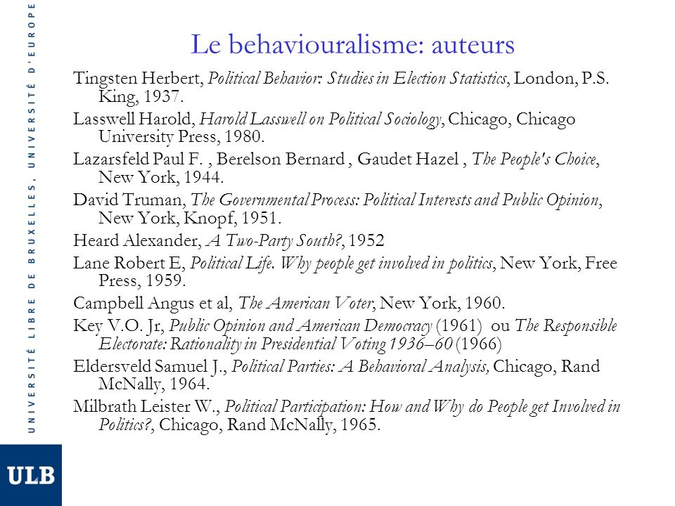 Le behaviouralisme: auteurs Tingsten Herbert, Political Behavior: Studies in Election Statistics, London, P.S. King, 1937. Lasswell Harold, Harold Las